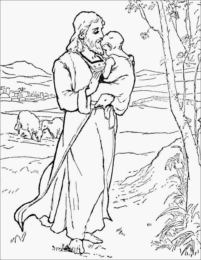 Hermoso dibujo de Jesús con un nino en brazos para colorear ...