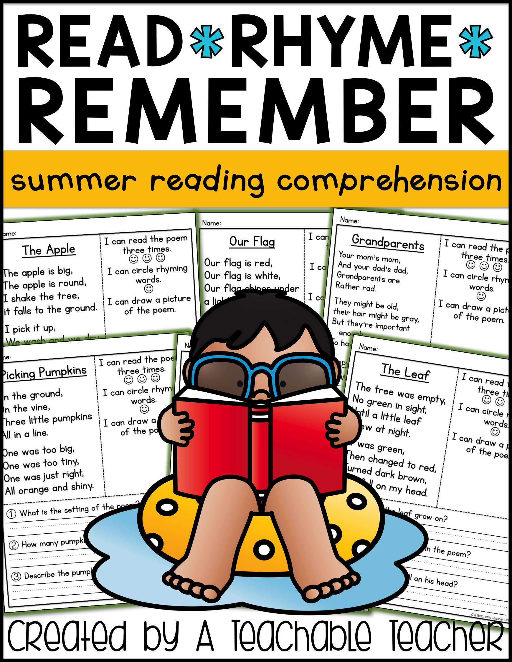 Summer Reading Comprehension Poems