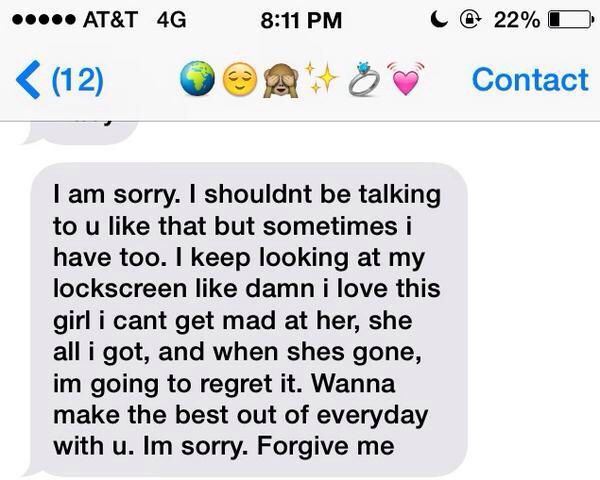 Text for her sorry I Am