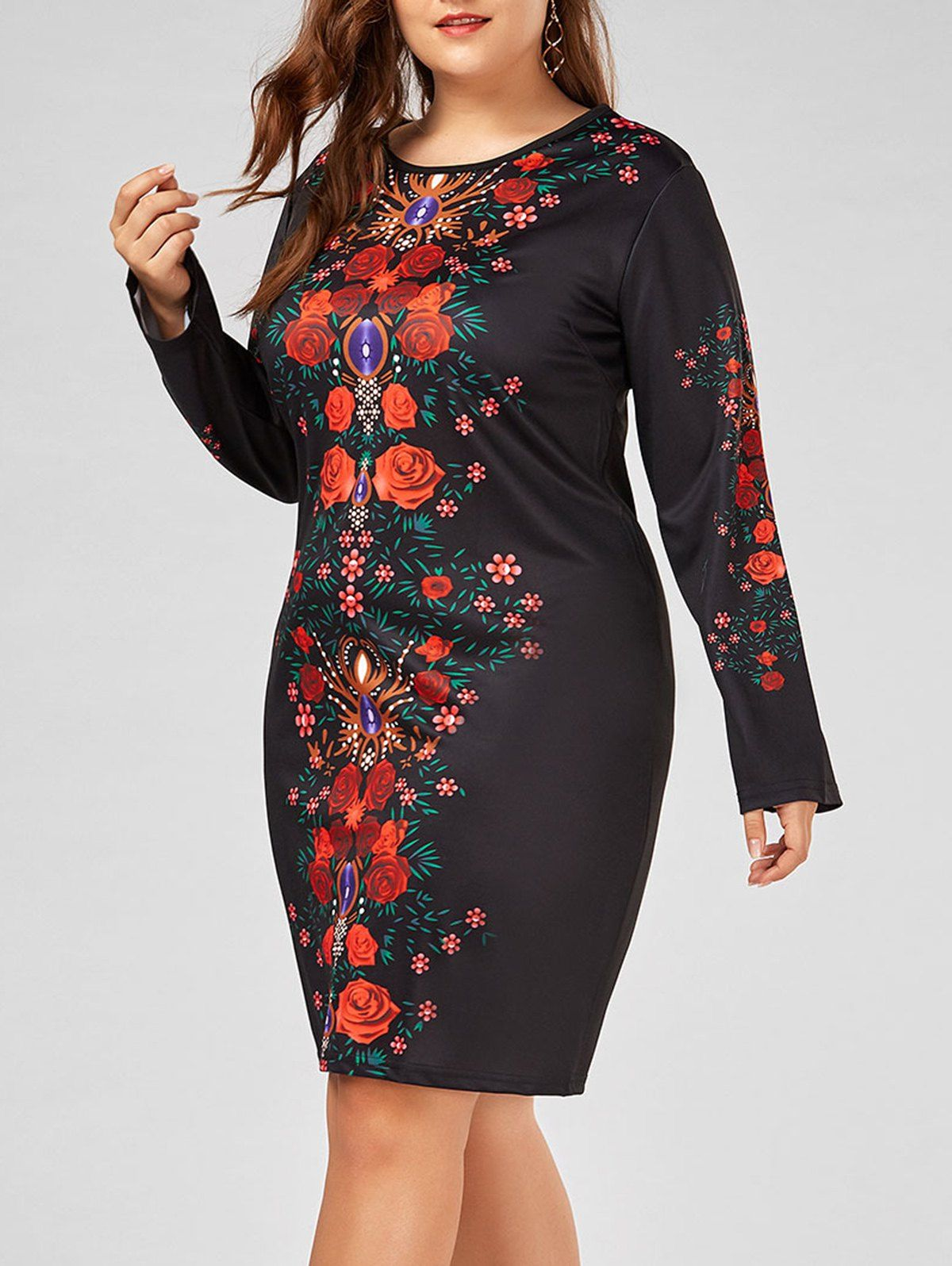 Plus size floral printed long sleeve bodycon dress bodycon dress