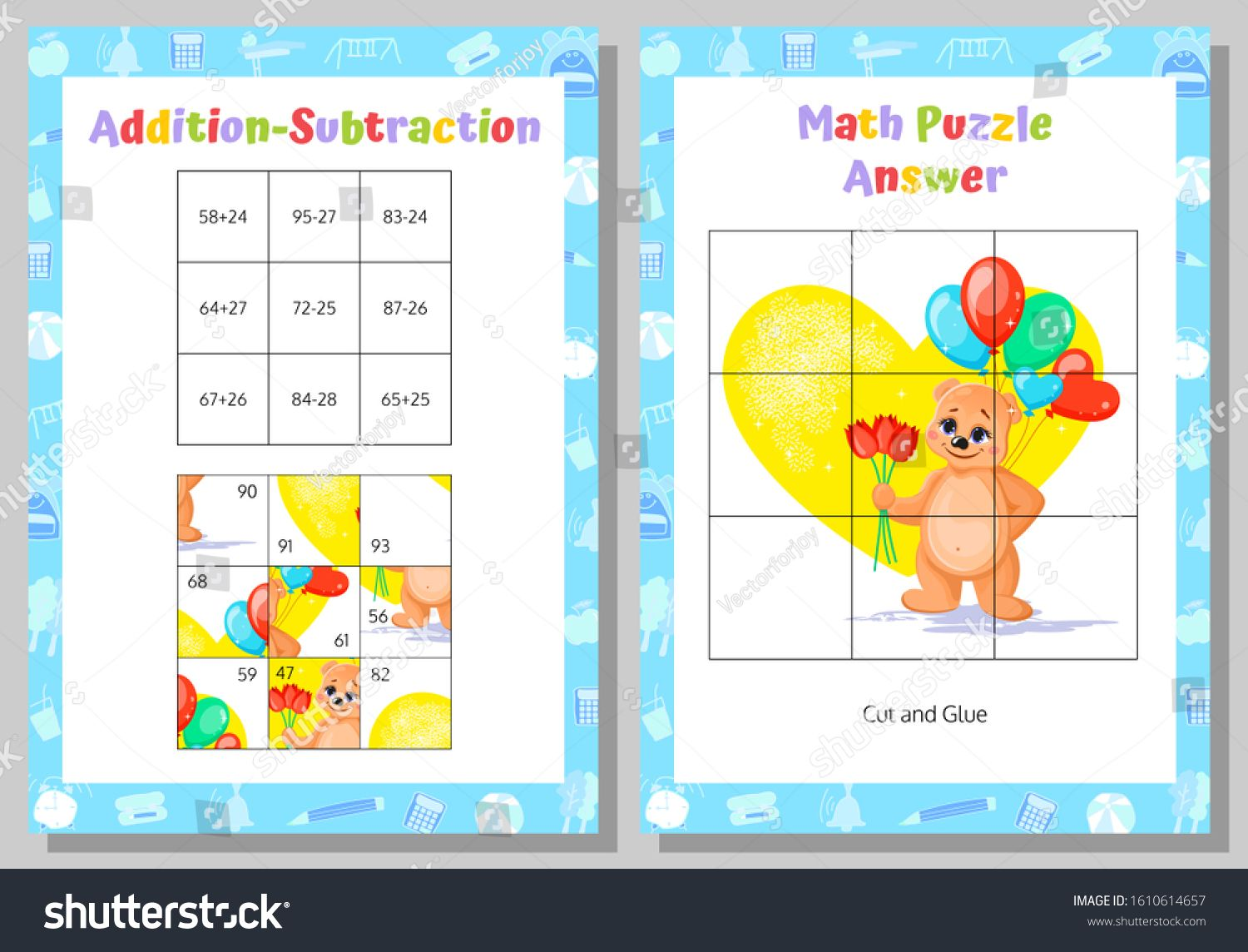 Addition Subtraction Math Puzzle Worksheet Educational Game Mathematical Game Vector Illustration Ad Maths Puzzles Subtraction Addition And Subtraction Math addition puzzle worksheets