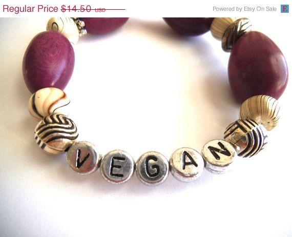 ON SALE VEGAN Organic Beaded Stretch Bracelet, Purple & White with Brown Swirls, Statement Jewelry, Eco-Friendly Jewelry, Vegan Jewelry by TerriJeansAdornments on Etsy