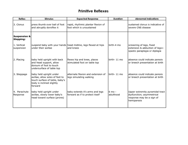 Primitive Reflexes Pdf Primitive Reflexes Reflexes Vestibular System