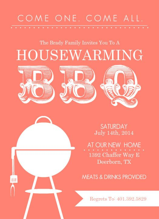 Coral modern bbq housewarming invitation by purpletrail for Housewarming party activities