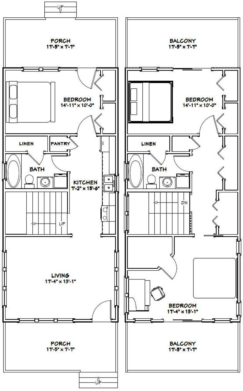 18x40 House 3 Bedroom 2 Bath 1 292 sq ft PDF Floor Plan Instant Download Model 6