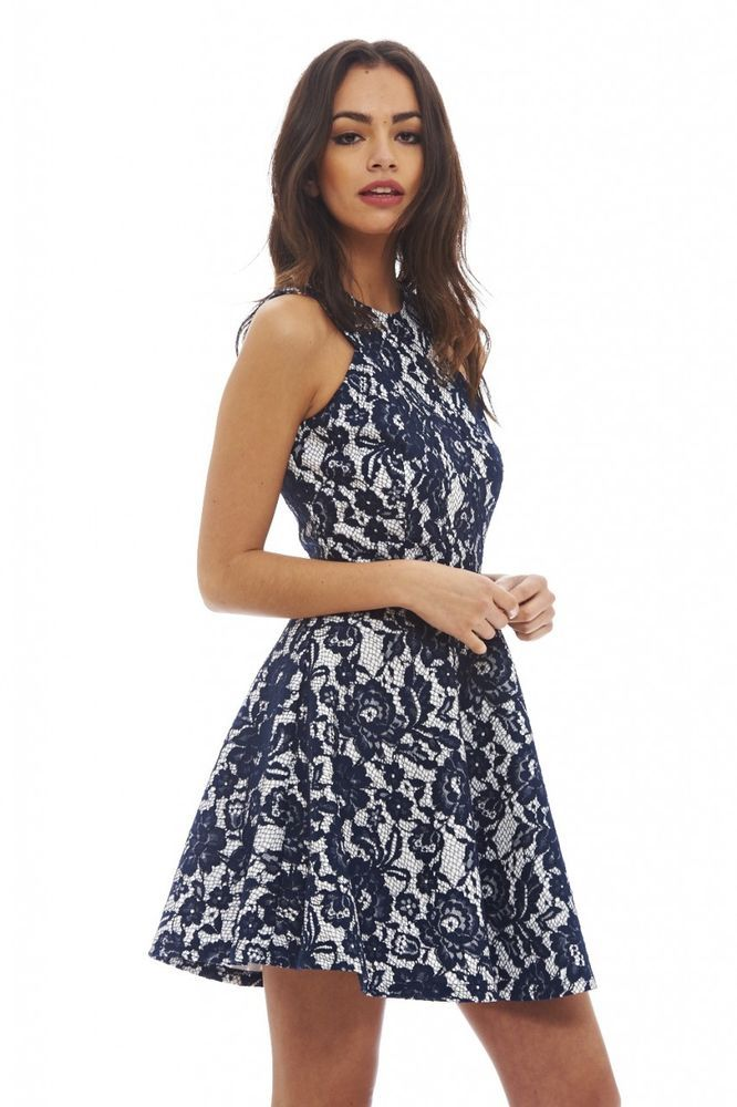 a5a5806e09 AX Paris Womens All Over Lace Skater Dress Navy Blue Sleeveless Round Neck