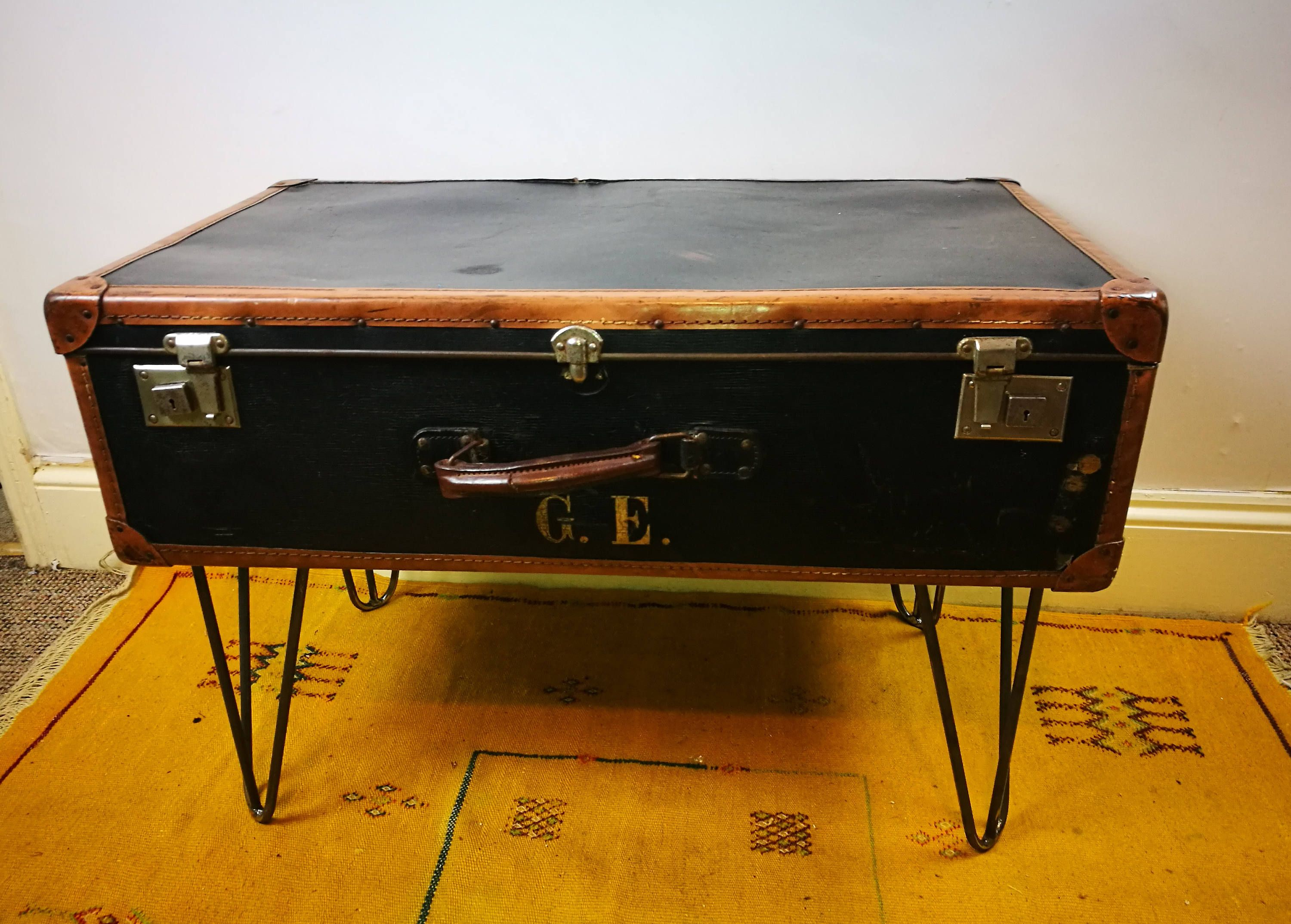 Vintage Leather Suitcase Coffee Table Upcycle By Madeupbysasha On