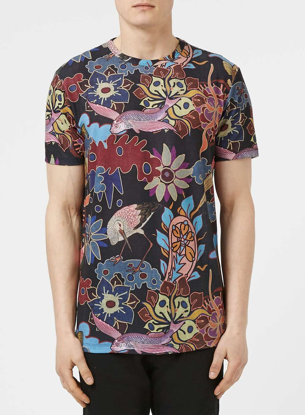 Jaded London Mens T-Shirt With Tapestry Print Khaki - Shirts & Tops