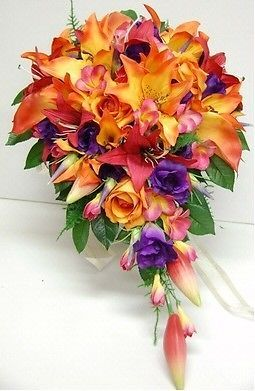 Silk wedding bouquet flowers red orange lily purple rose frangipani silk wedding bouquet bouquets silk flowers teardrop orange lily purple rose ebay mightylinksfo
