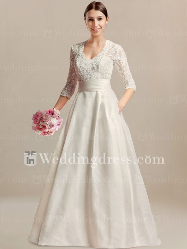 Vintage Wedding Dress With 3 4 Sleeves De460 Modest Wedding Dresses With Sleeves Rustic Wedding Gowns Wedding Dress With Pockets