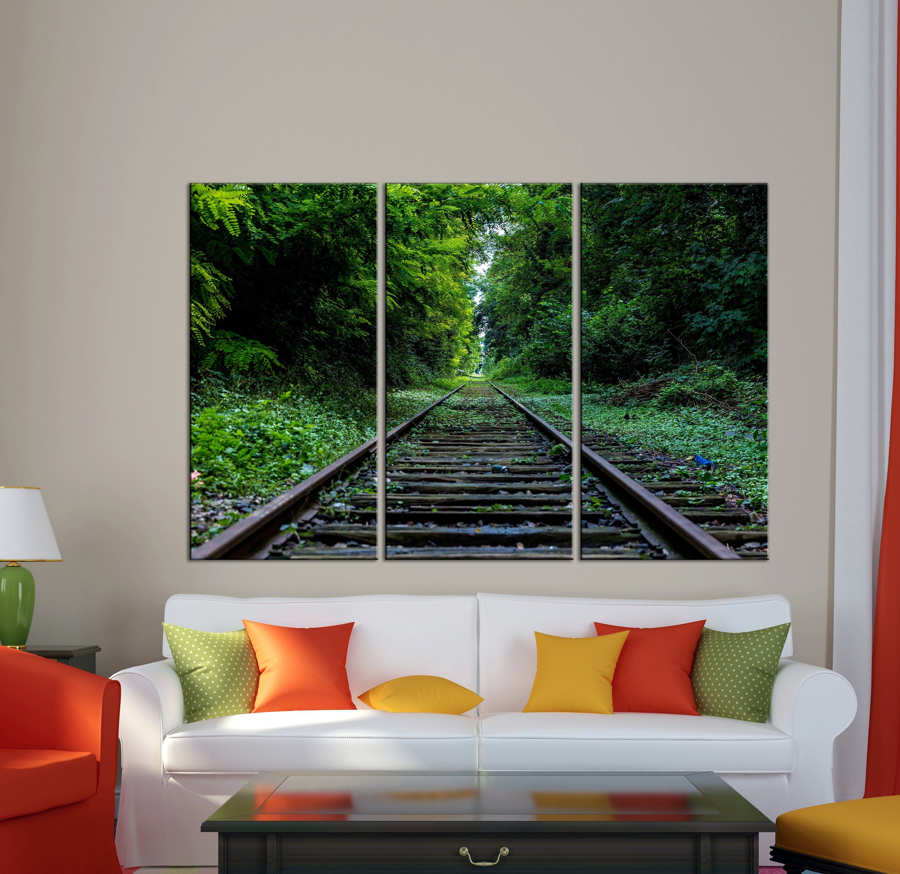 Railroad In The Forest Print Canvas Print Railroad Canvas Print Rails In Forest Wall Art Photoprint Green Fores Forest Wall Art London Wall Art Nature Wall Art