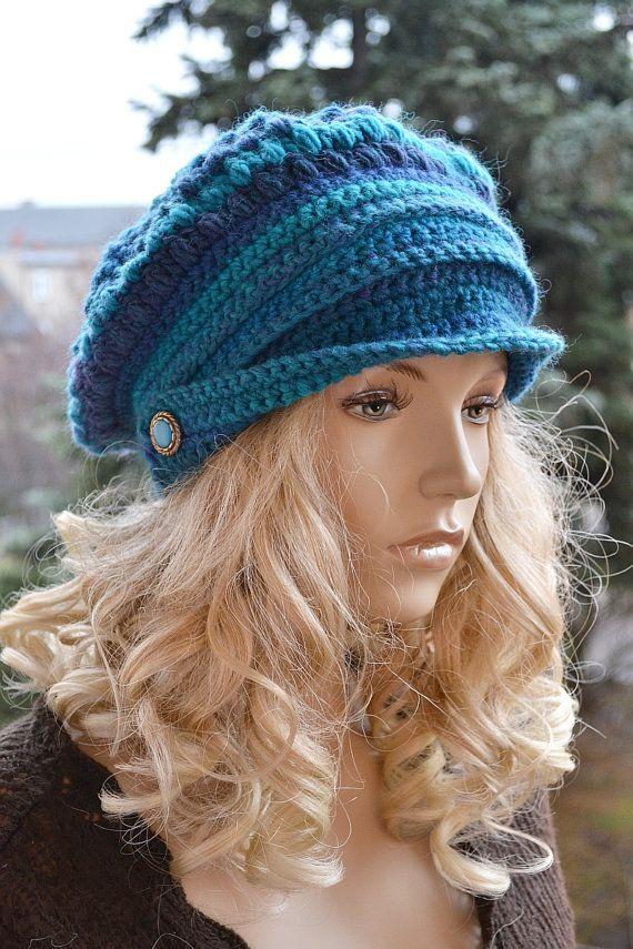 Blue crochet Newsboy Caps, Beanie Womens, slouchy hat, winter ...