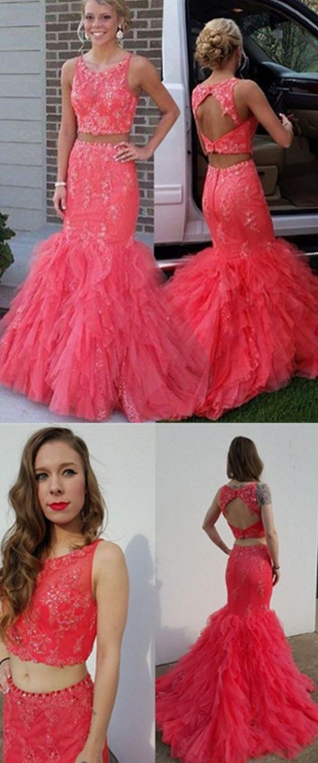 Pink prom dresses mermaid prom dresses two pieces lace prom dresses