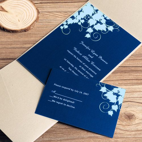 navy blue floral silver pocket wedding invitations Wedding Blue