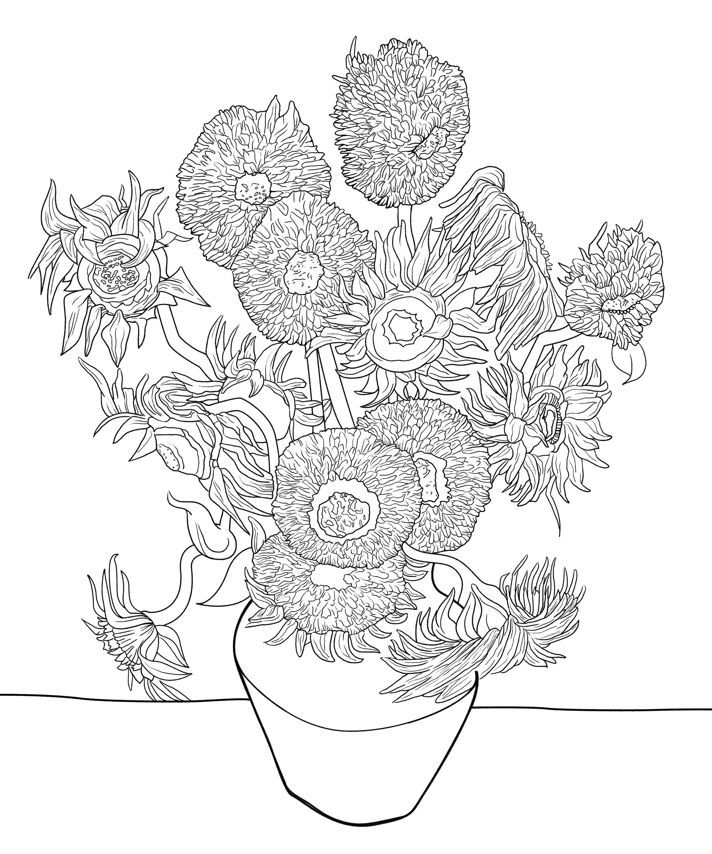 Van Gogh Flower Coloring Sheets Designs Coloring Books Van Gogh Coloring
