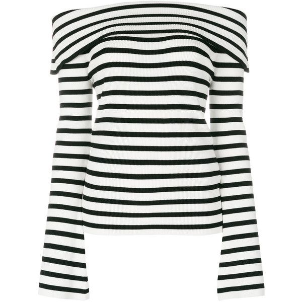 Outlet Recommend striped off-shoulder top - White P.A.R.O.S.H. Sale Buy Discount Enjoy Free Shipping Perfect In China Sale Online Lm10ZaTI