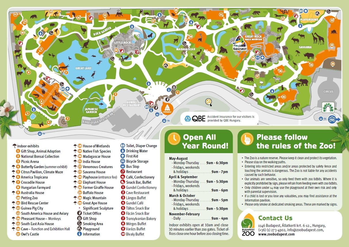 Zoo map | Rain or shine, Budapest Zoo is fine! | Magyarország ...