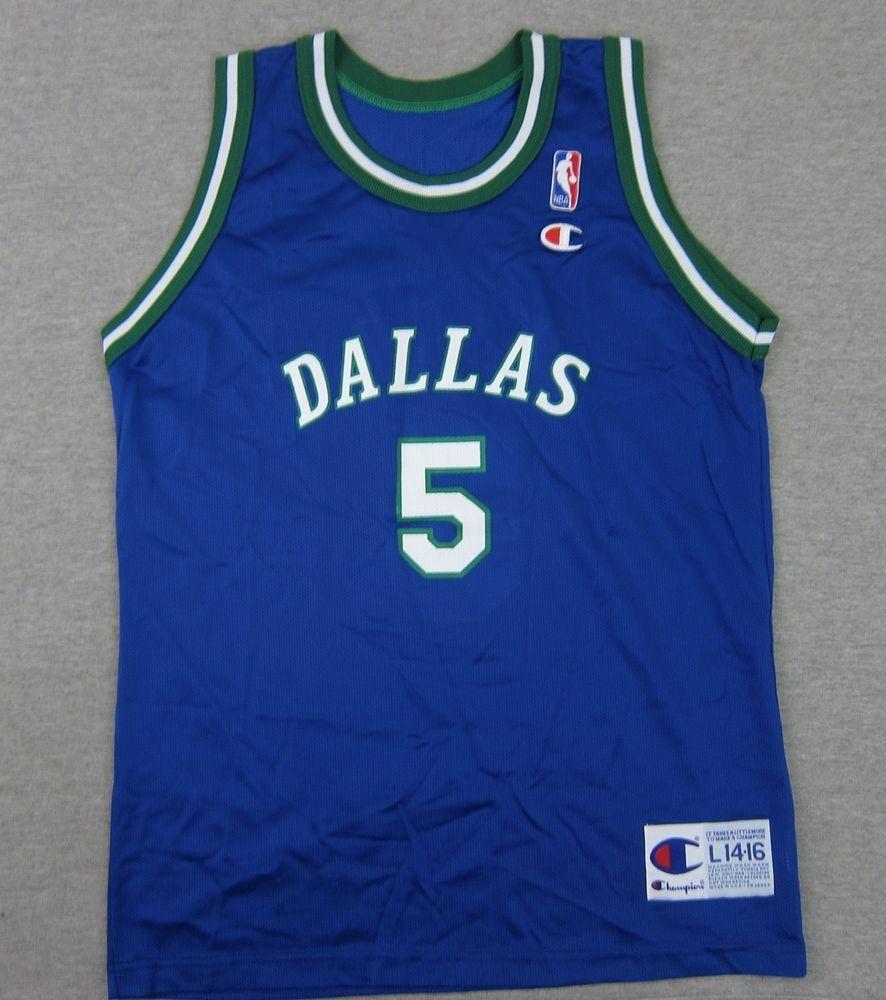 Blue apron kidd - Vintage Champion Dallas Mavericks Jason Kidd 5 Nba Basketball L Youth Usa