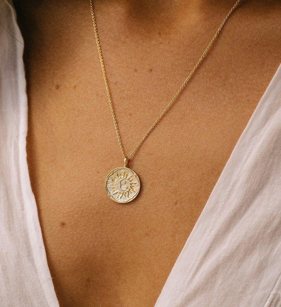 Photo of GOLDEN SUN COIN NECKLACE (14K-GOLD-PLATED) – – # 14KGOLDPLATED #Banglebracelets …