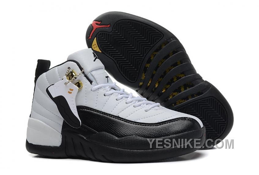 Big Discount 66 OFF Womens Air Jordan 12 GS Taxi Black And White Girls Size For Sale