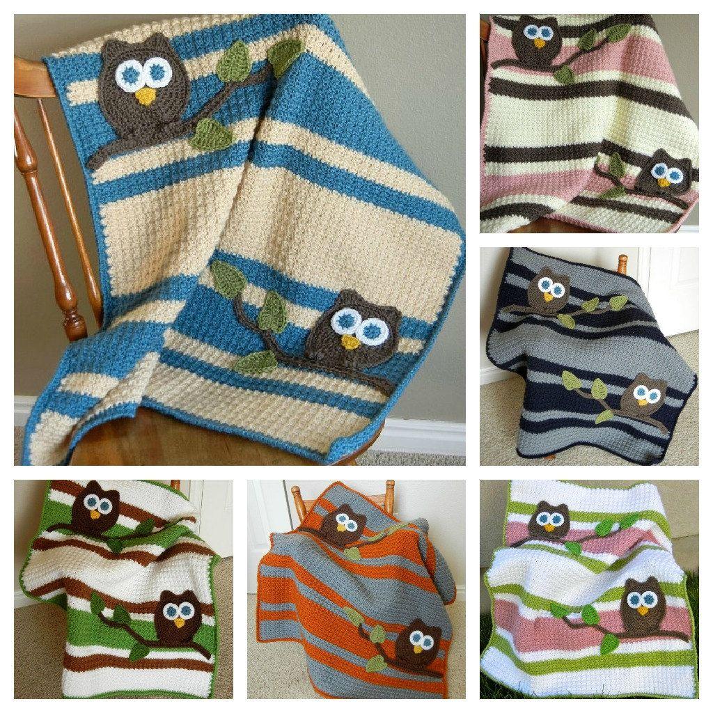 Pattern Owl Baby Blanket Crochet Pattern Instant Download Bonus
