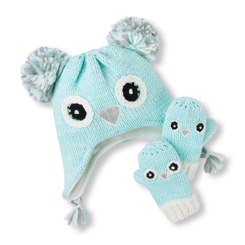 ee76468ab87 Baby Girls Toddler Sparkle Owl Hat And Mittens Set - Green - The Children s  Place