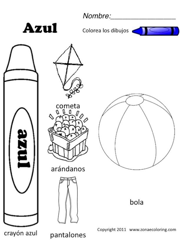 Free Spanish Coloring Worksheets | download | Color blue ...