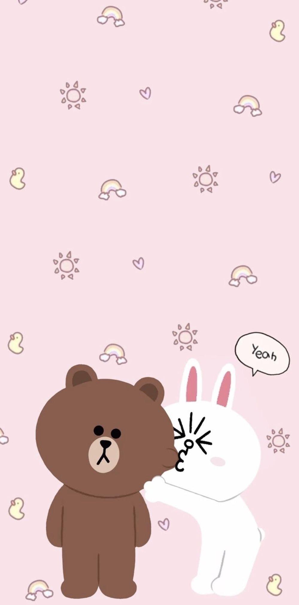 Line Friends Bear Line Friends Bear Korea Korean App Cute Wallpaper Lucu Kartu Lucu Beruang Coklat