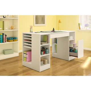 Great Featuring Multiple Shelves And Drawers, This Storage Craft Table Is Easy To  Keep