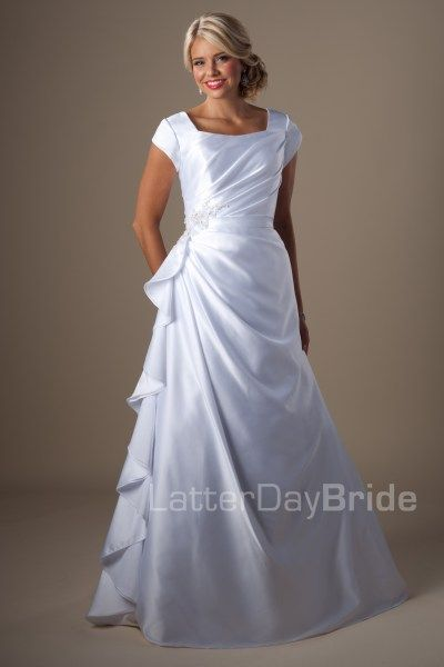 Harrison Simple Yet Elegant This Satin Modest Wedding Dress