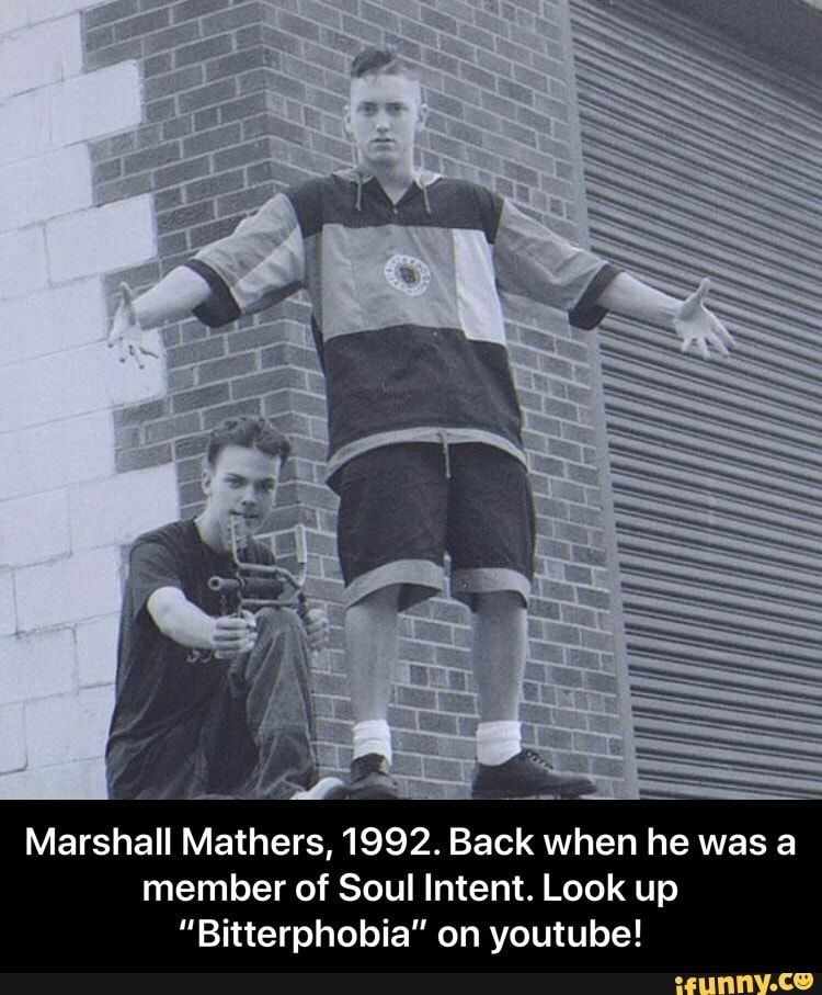 Marshall Mathers 1992 Back When He Was A Member Of Soul Intent Look Up Bitterphobia On Youtube Marshall Mathers 1992 Back When He Was A Member Of Soul Eminem Memes Marshall Mathers Marshall