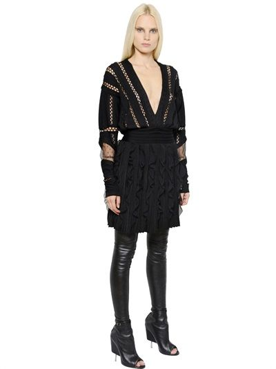 GIVENCHY - SWISS DOT TULLE & KNIT DRESS - LUISAVIAROMA - LUXURY SHOPPING WORLDWIDE SHIPPING - FLORENCE