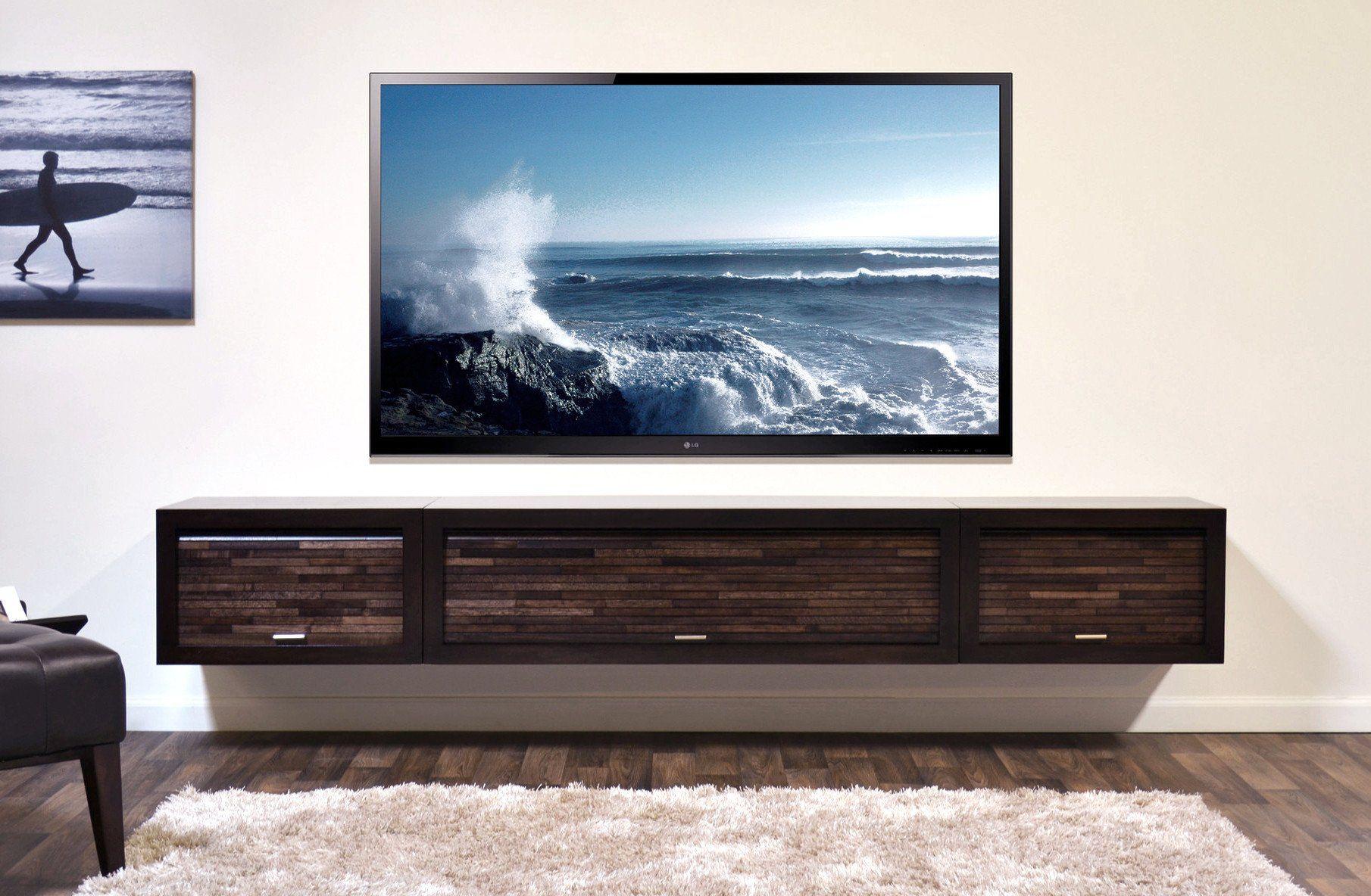 Floating tv stand entertainment center eco geo espresso