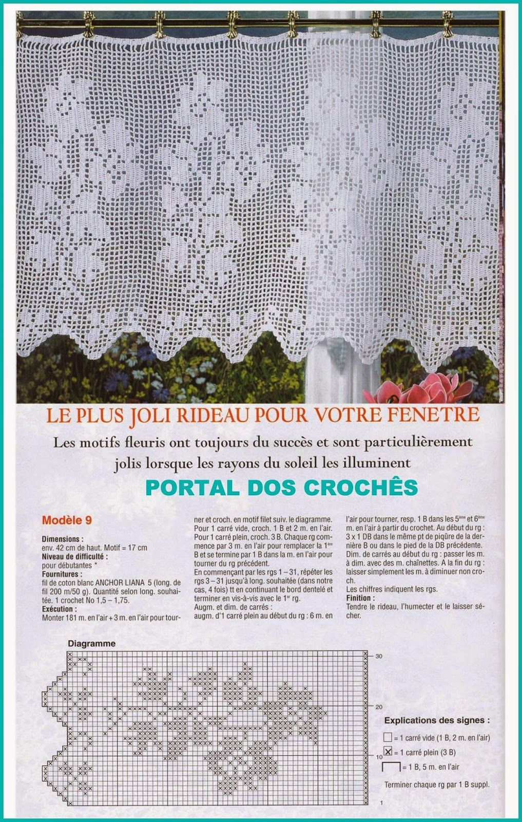PORTAL DOS CROCHÊS: CORTINAS E BANDÔS DE CROCHÊ DE FILÉ | Crochet ...