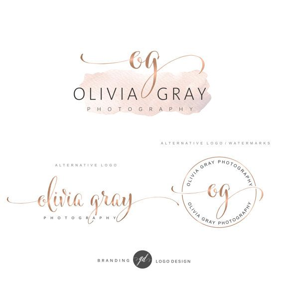 Watercolor Logo Design Rose Gold Branding Kit Photography Logo