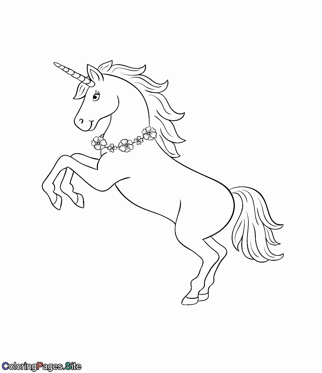Coloring Pages Animals And Flowers New Unicorn With A Necklace Of Flowers Unicorn Coloring Pages Princess Coloring Pages Horse Coloring Pages