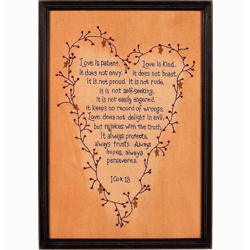 Wedding Reading Love Is Patient: I Corinthians 13 Love Is Patient Framed Stitchery