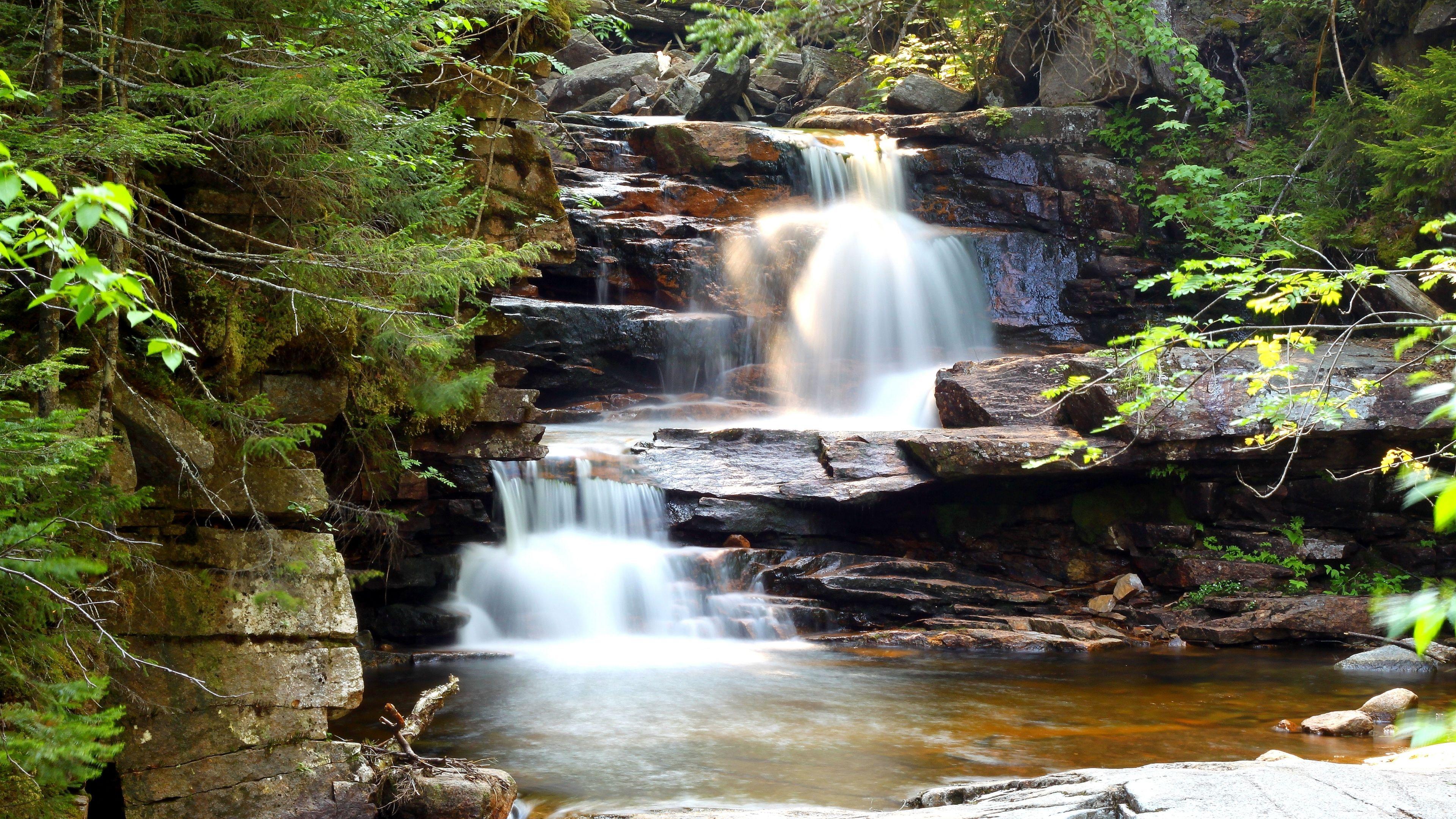 3840x2160 Wallpaper waterfall, cascade, rocks, nature (con