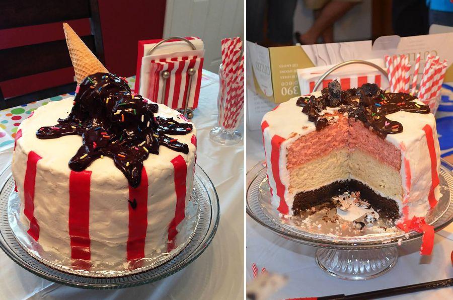 2 scoops ice cream birthday cake neapolitan flavored