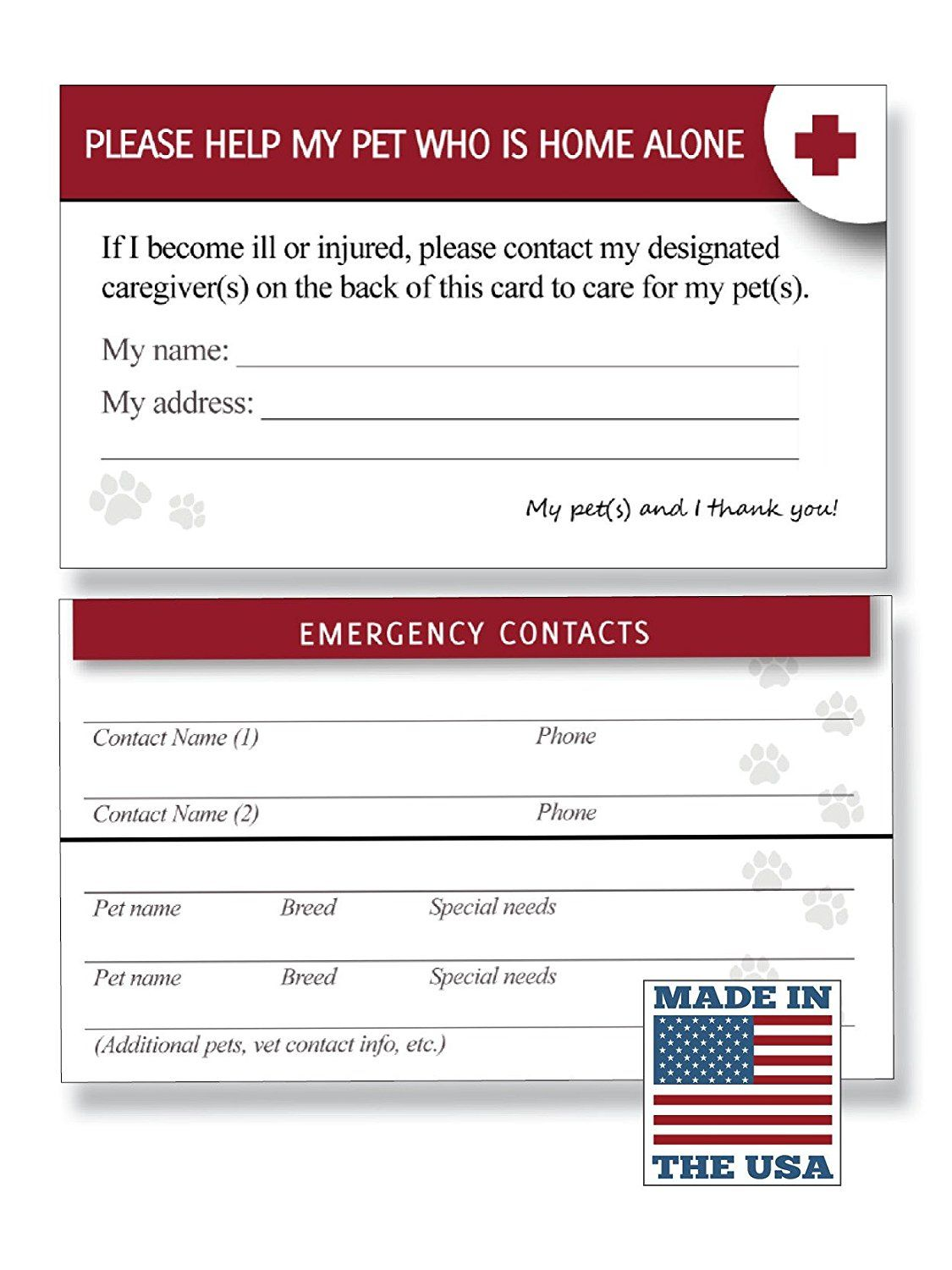 Pet Emergency Care Card First Aid Kit Wallet Card Extra