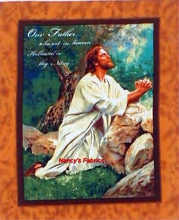 Lord's Prayer Cotton Quilting Fabric Panel Jesus religious ... : religious quilting fabric - Adamdwight.com