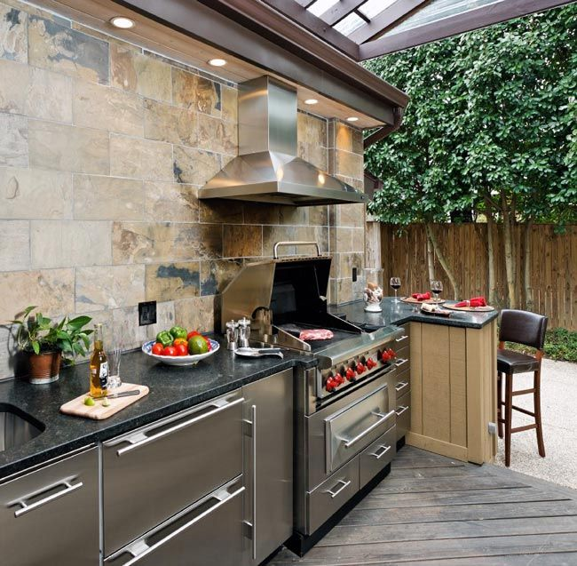 Uplifting Outdoor Decoration With Alfresco And Summer Kitchen Design Plans:  Stainless Steel Hood With Stone Backsplash In Modern Outdoor Kitchen Design  Plan ...
