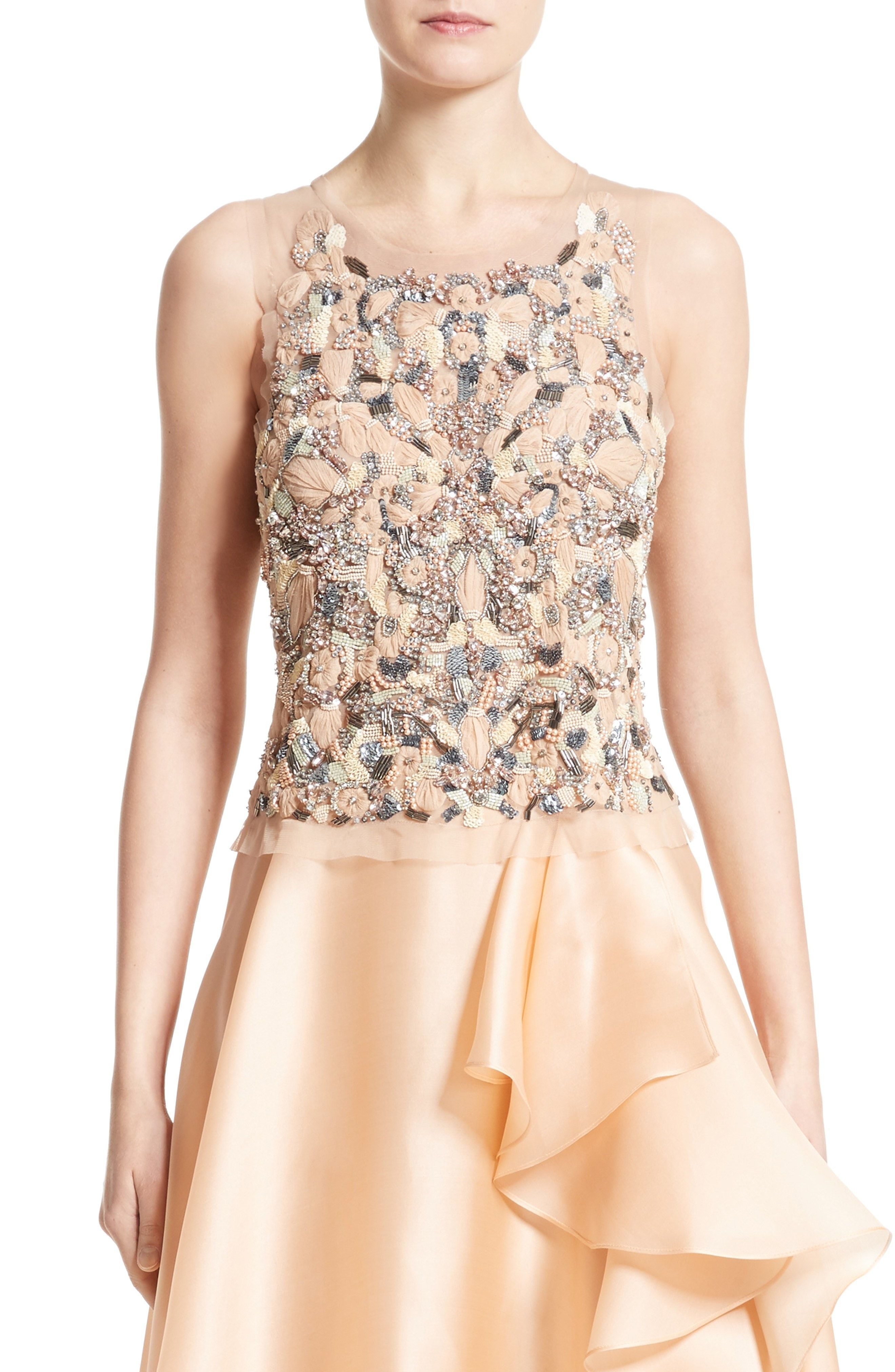 New Badgley Mischka Beaded Top WHITE fashion online. [$1495] new offer from topshoppingonline<<