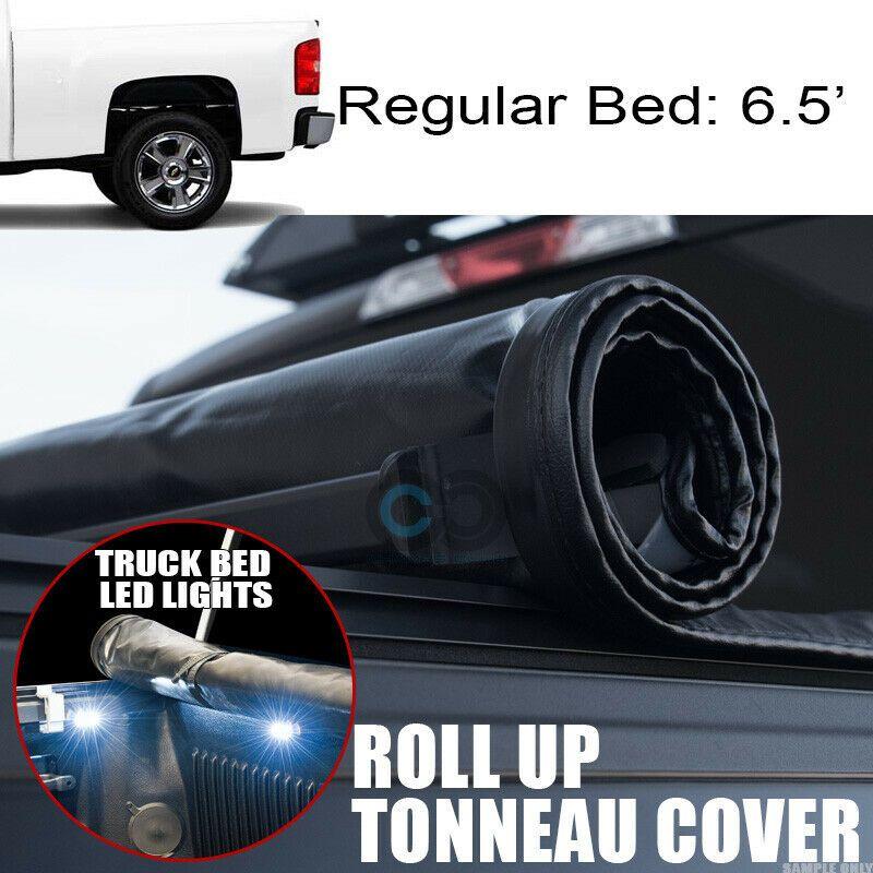 Soft Vinyl Roll-Up Tonneau Cover Fit 07-14 Silverado//Sierra 6.5/' Fleetside Bed