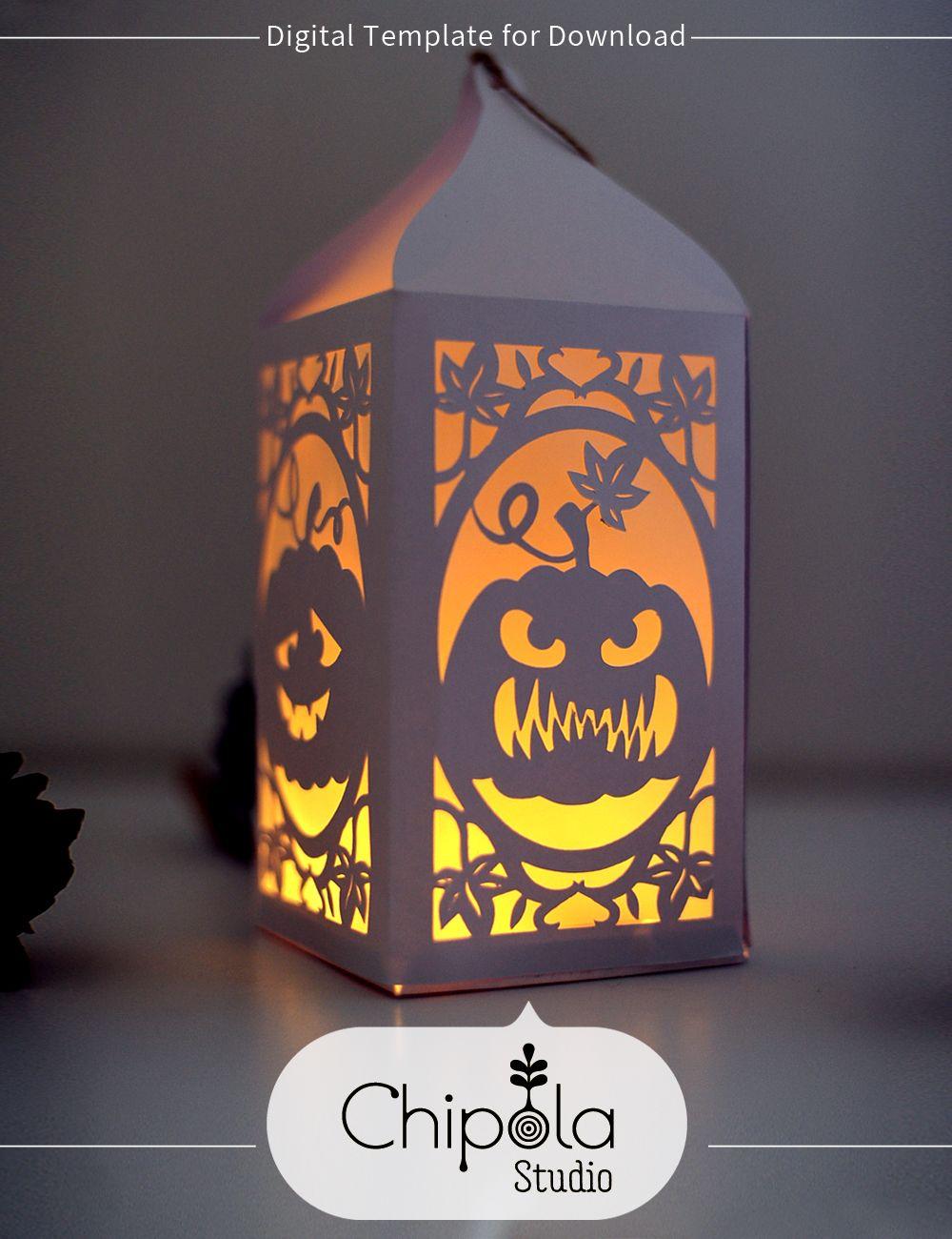 Halloween Pumpkin Lantern Digital Downloadable Template Chipola Studio Halloween Pumpkins Lanterns Halloween Lanterns