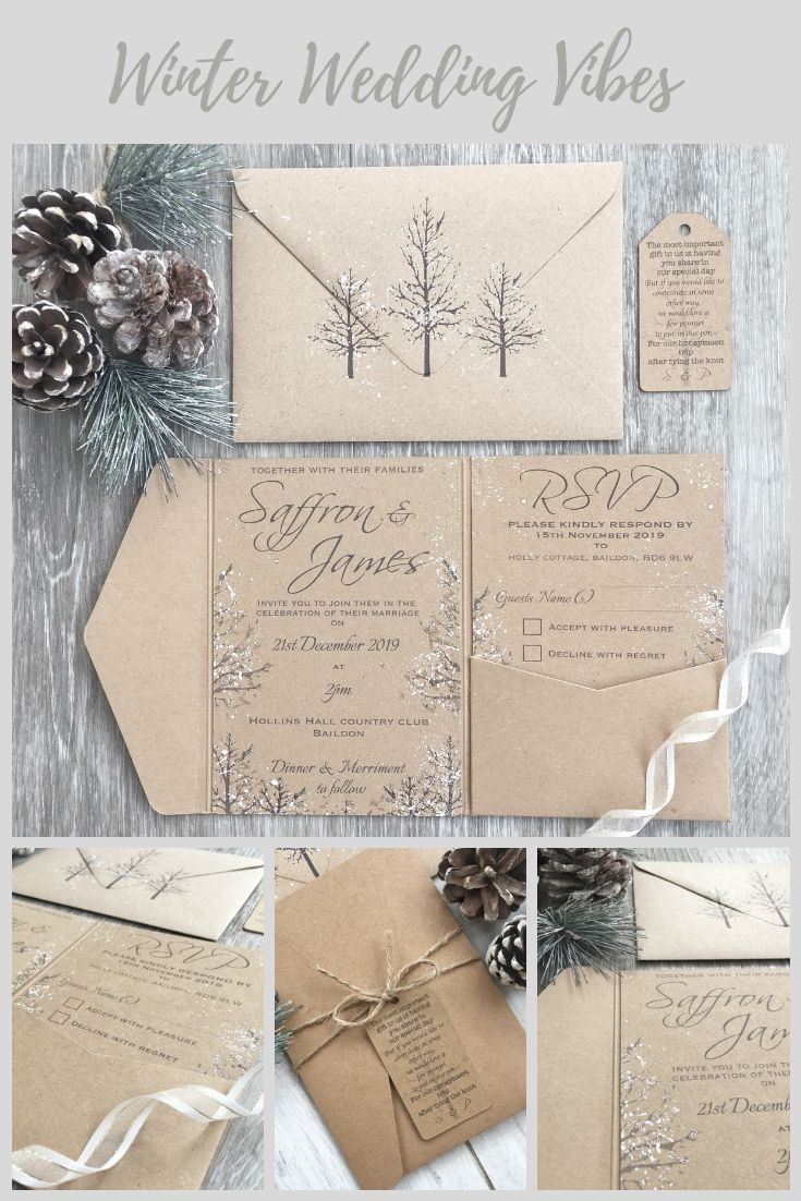 SINGLE SAMPLE ONLY - Rustic Winter Wedding Pocket-fold Invitation, Rustic Wedding, Winter Wedding, Christmas Wedding Invitation, Rustic