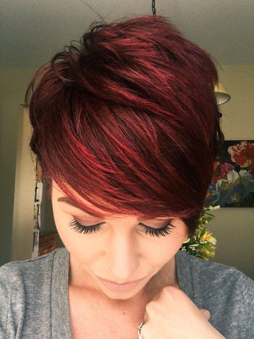 Red violet pixie with copper tones  Short red hair, Hair styles