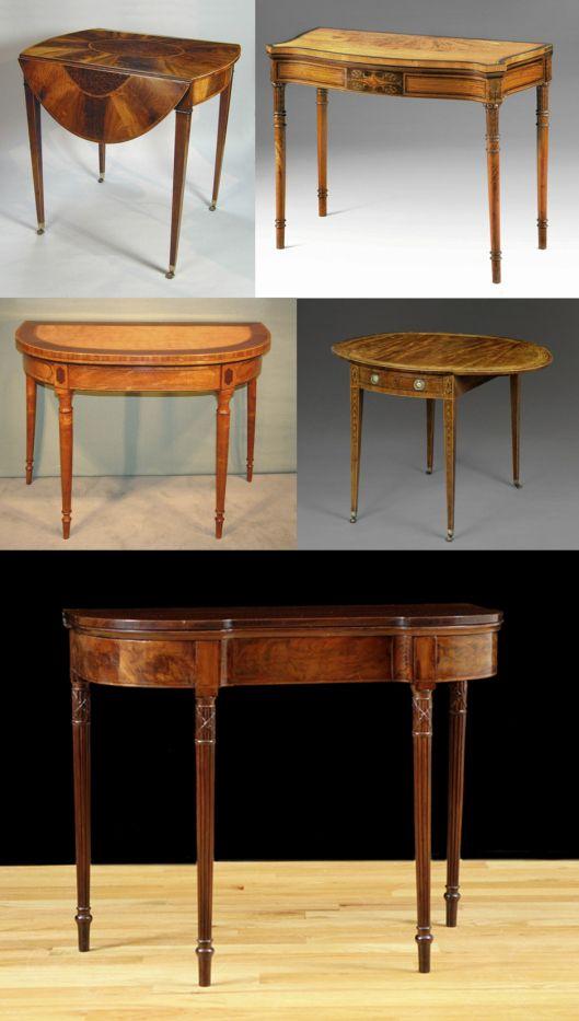 Diferentes consolas y mesas en estilo Sheraton Inglaterra
