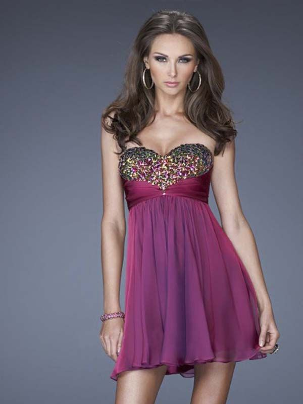 A-line Sweetheart Chiffon Beading Short Prom Dresses/Homecoming ...