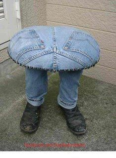 How Original a table made from jeans and it's legs look like real with man's shoes on the feet.